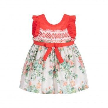 Foque Ivory & Pink Cotton Dress