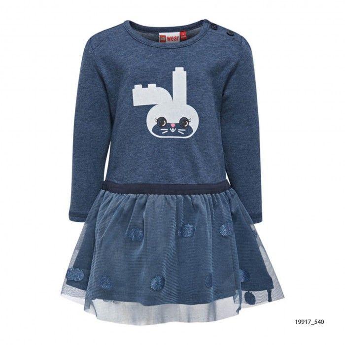 Vestido Algodão Azul Menina