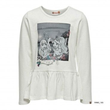 Girls White Cotton Sweatshirt