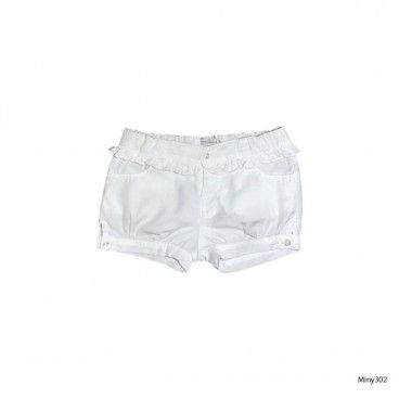 Girls White Cotton Shorts
