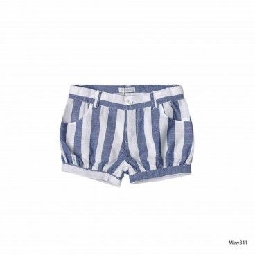 Girls Blue Striped Shorts