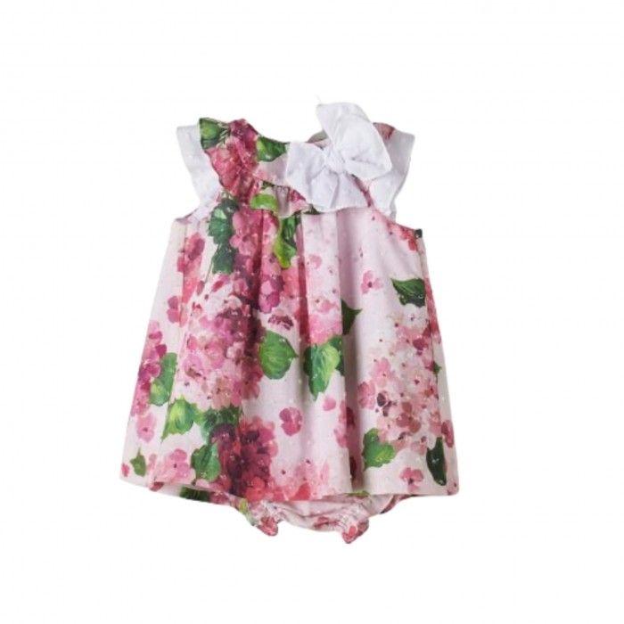 Girls White & Pink Floral Dress Set