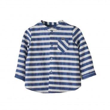 White & Blue Striped Cotton Shirt