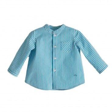 Blue Sea Striped Cotton Shirt