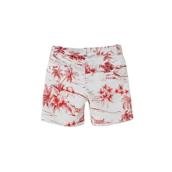 Boys White & Red Printed Cotton Shorts