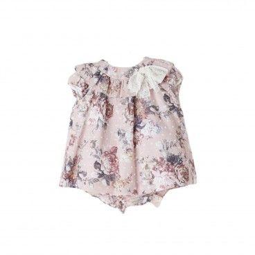 Pink Cotton Floral Dress Set