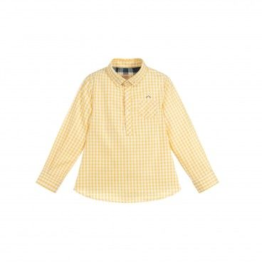 Boys Yellow Checked Cotton Shirt