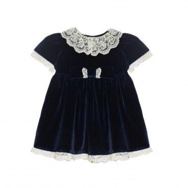 Navy Blue Velvet Baby Dress