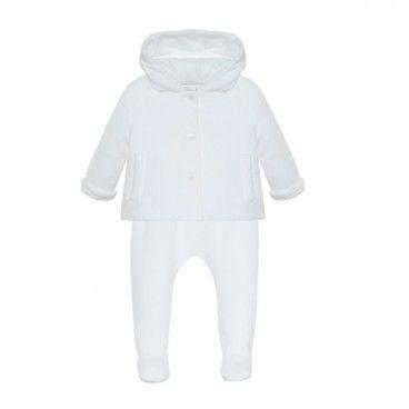 Conjunto Branco Bebé Casaco & Calça
