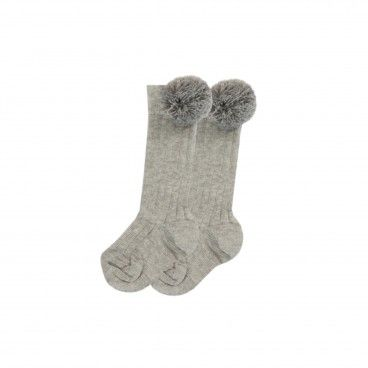 Grey Cotton Pom-Pom Socks