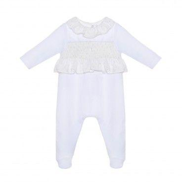 White & Blue Stars Velour Babygrow