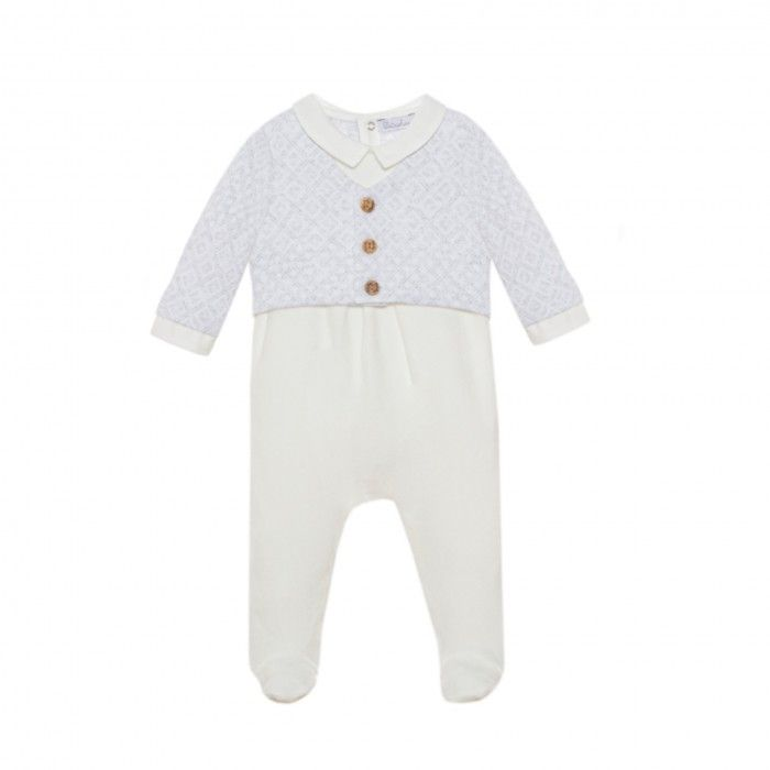 White & Light Grey Babygrow