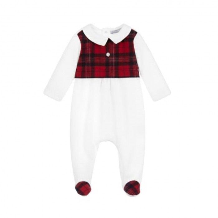Boys White & Red Tartan Babysuit