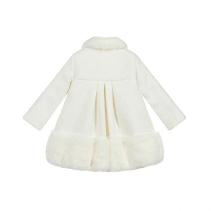 Girls Ivory Coat with Fur Trim