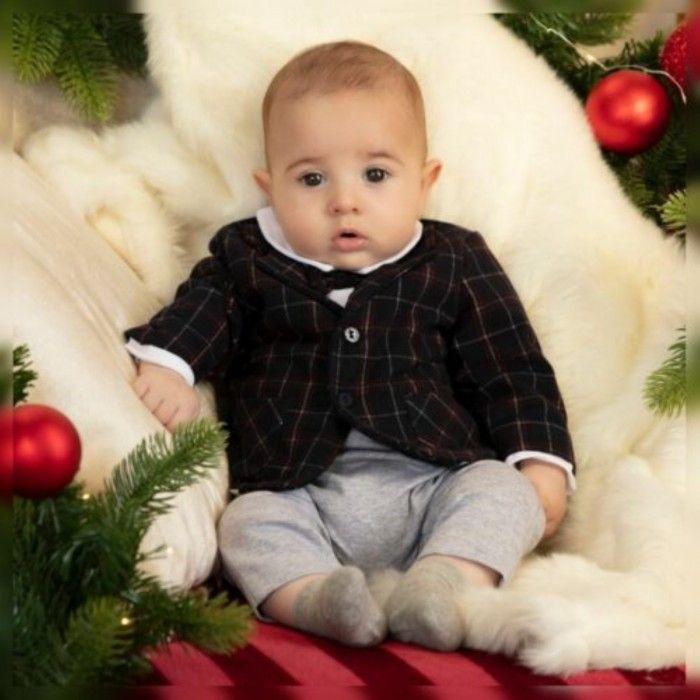 Babygrow Menino Cinza & Xadrez Azul