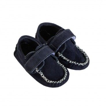 Navy Leather Moccasin Shoes