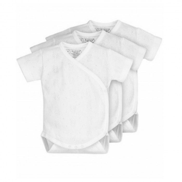 3 Pieces Pack white body short sleeve crossed