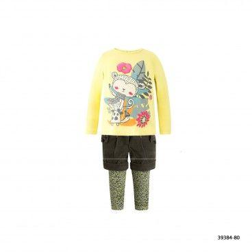 Girls Cotton Shirt with Shorts & Leggings