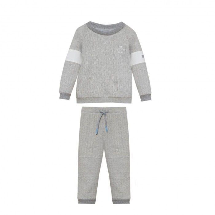 Mini Boy English Grey Cotton Tracksuit