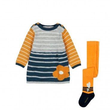 Vestido Malha Mostarda & Collants