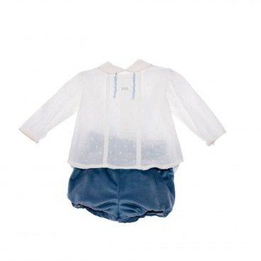 Conjunto Bebé Azul Veludo