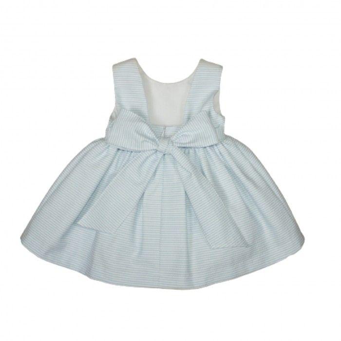 Vestido Menina Azul & Branco Poplin