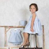 Girls White & Blue Poplin Dress