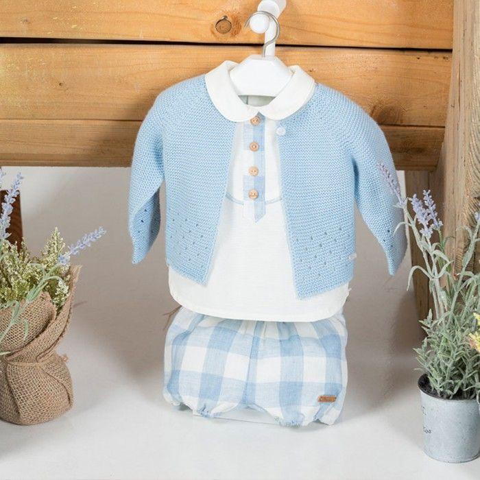 Conjunto Bebé 3 Peças - Camisa, Tapa Fraldas e Casaco Malha