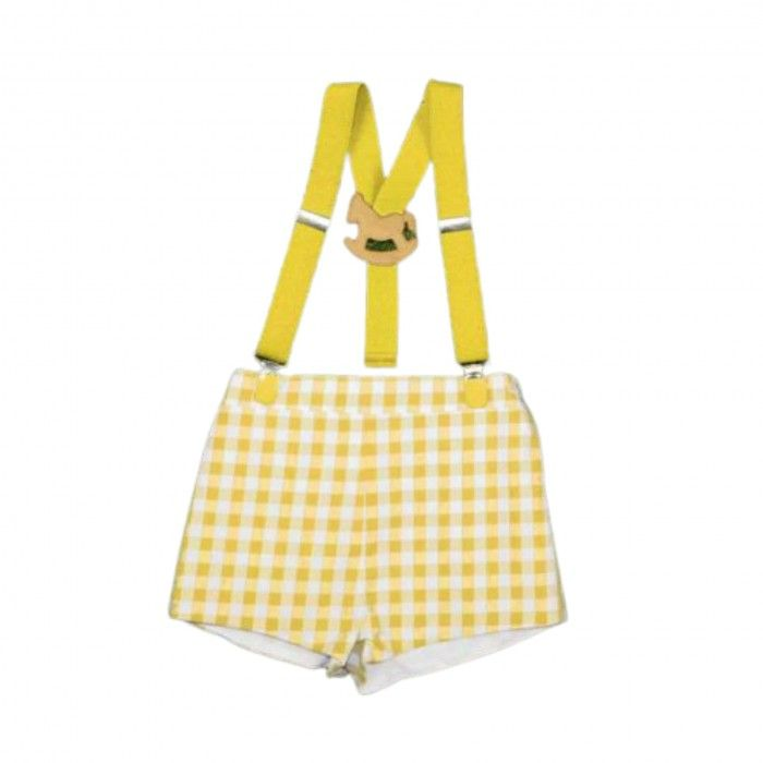 Yellow Shorts Vichy with Suspenders