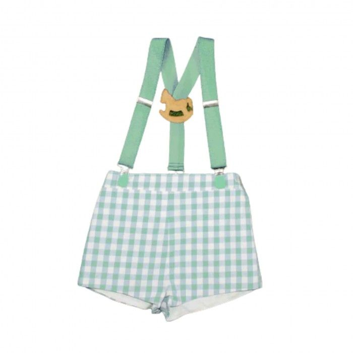 Green Shorts Vichy with Suspenders