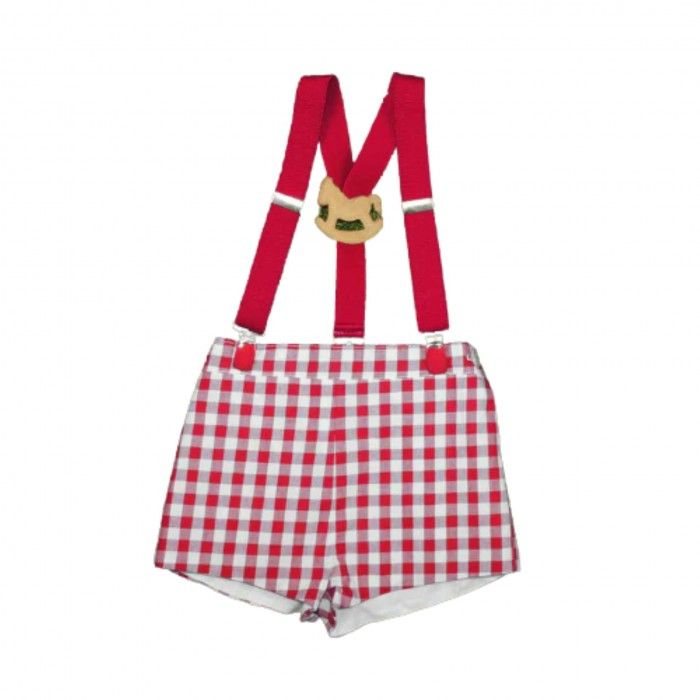 Red Shorts Vichy with Suspenders