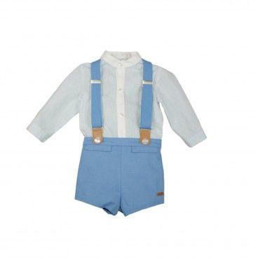 Conjunto Bebé 2 Peças c/ Supensórios - Camisa e Calção