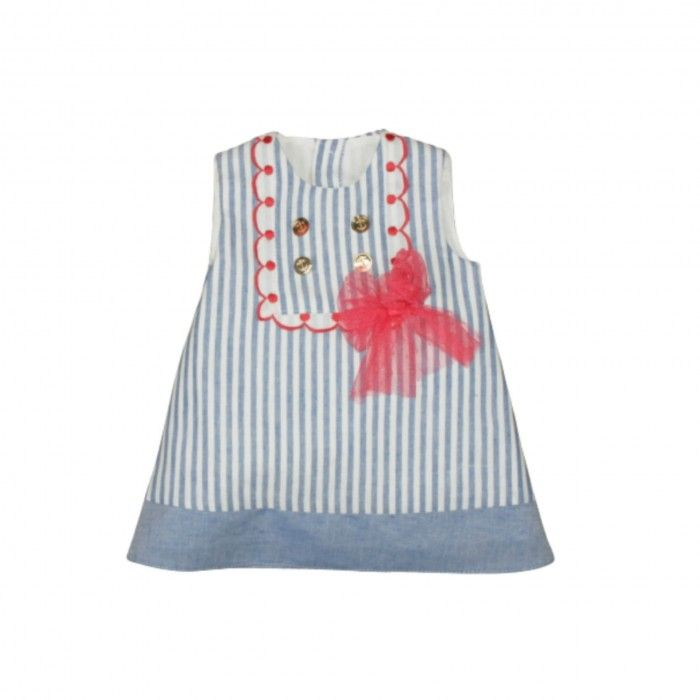 Baby Blue & Red Cotton Dress