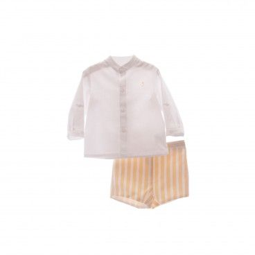 Boys Caramel & White Shorts Set