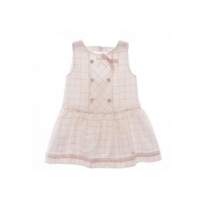 Girls Beige Cotton Dress