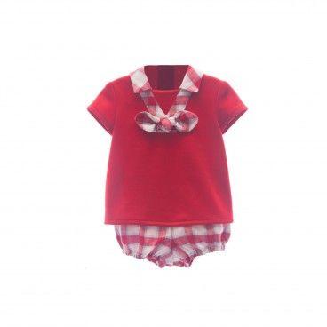 Boys Red Cotton Shorts Set