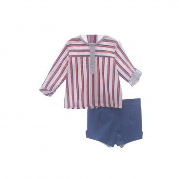 Boys Blue & Red  Shorts Set