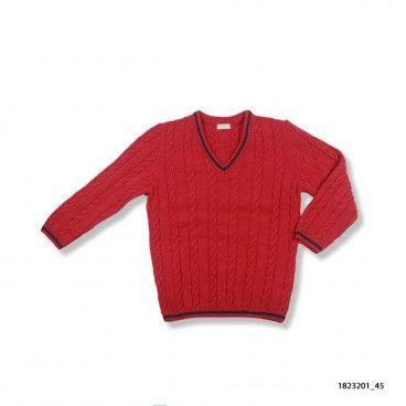 Pullover Vermelho com Lista na Gola