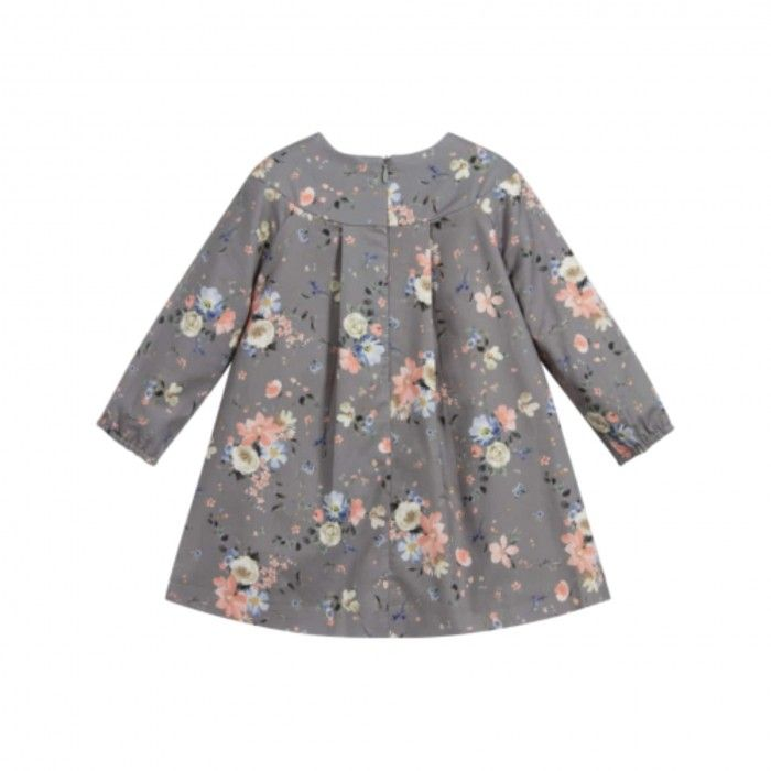 Grey & Pink Floral Baby Dress