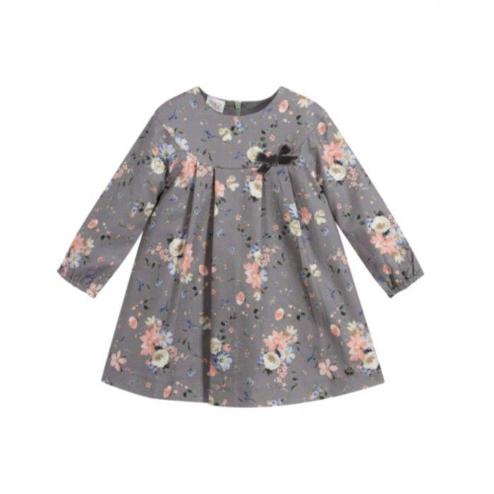 Vestido Bebé Floral Cinza