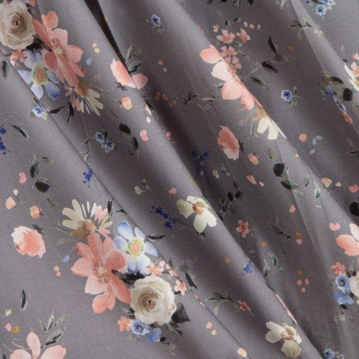 Vestido Menina Floral Cinza