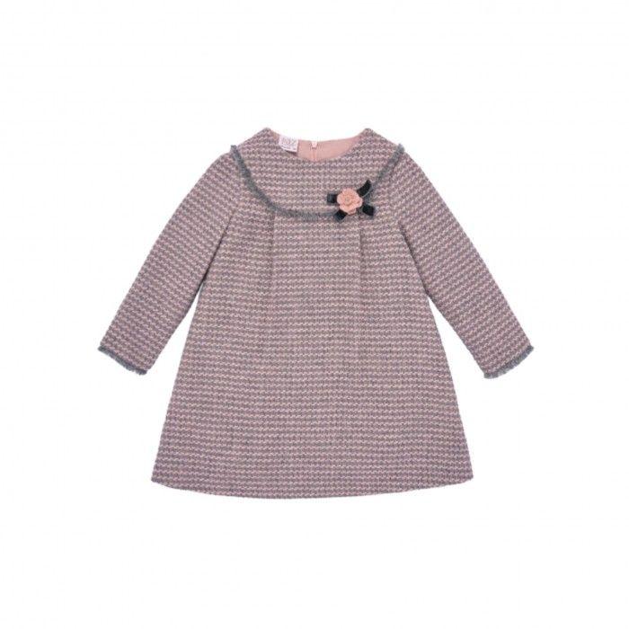 Girls Pink & Grey Wool Dress