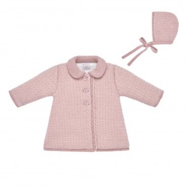 Pink Knit Coat Set
