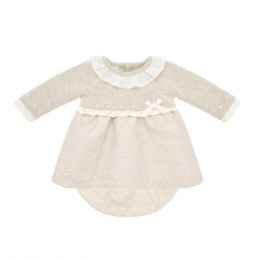 Light Brown Knitted & Cotton Dress Set