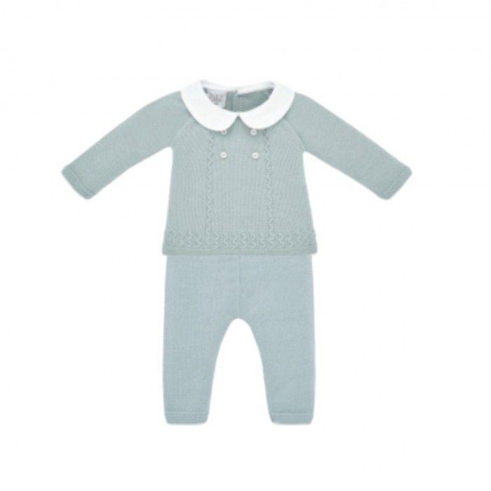 Powder Green Knitted 2 Piece Babysuit