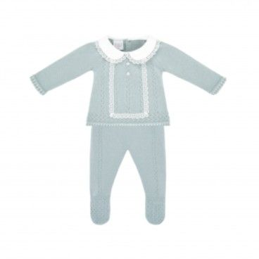 Powder Green Knitted 2 Piece Babygrow