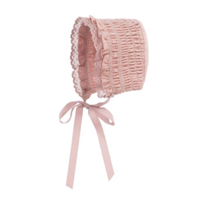 Pink Cotton & Lace Bonnet