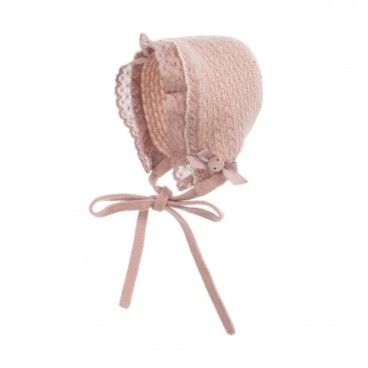 Pink Knitted Baby Bonnet
