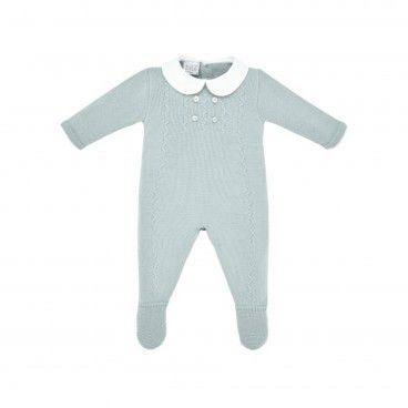 Powder Green Knitted Babygrow