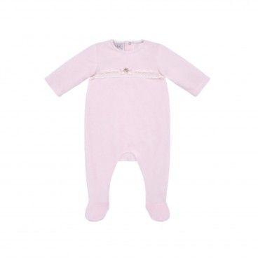 Pink Velour Babygrow